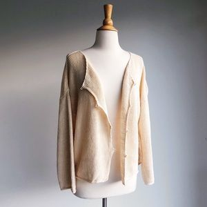 Eileen Fisher Linen Ivory Cardigan, size large